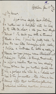 Celia Thaxter autograph letter signed to [Annie Fields], Appledore, 15 January [18]74
