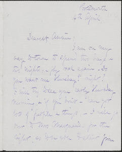 Celia Thaxter autograph letter signed to Annie Fields, Portsmouth, [N.H.], 14 April [1874]
