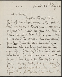 Celia Thaxter autograph letter signed to Annie Fields, Shoals, [N.H.], 22 May 1874