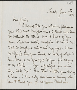 Celia Thaxter autograph letter signed to [James Fields], Shoals, [N.H.], 11 June 1874