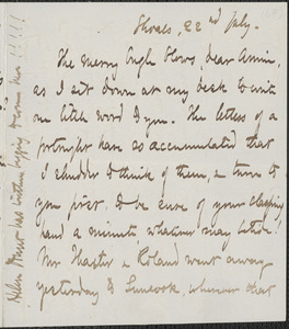 Celia Thaxter autograph letter signed to Annie Fields, Shoals, [N.H.], 22 July [1874]