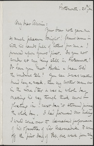 Celia Thaxter autograph letter signed to Annie Fields, Portsmouth, [N.H.], 25 January [1875]