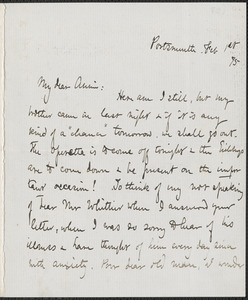 Celia Thaxter autograph letter signed to Annie Fields, Portsmouth, [N.H.], 1 February [18]75