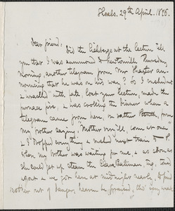Celia Thaxter autograph letter signed to [James Thomas Fields], Shoals, [N.H.], 29 April 1876