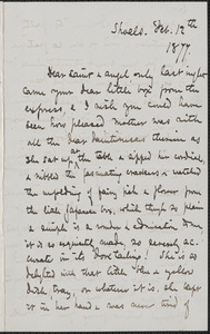 Celia Thaxter autograph letter signed to [Annie Fields, Shoals, [N.H.], 12 February 1877