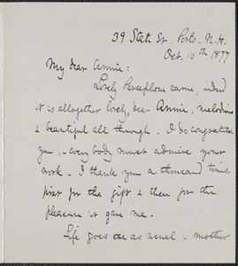 Celia Thaxter autograph letter signed to Annie Fields, Ports[mouth], N.H., 10 October 1877