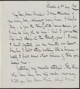 Celia Thaxter autograph letter signed to Annie Fields, Shoals, [N.H.], 21 August [18]78