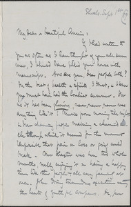 Celia Thaxter autograph letter signed to Annie Fields, Shoals, [N.H.], 1 September [18]79