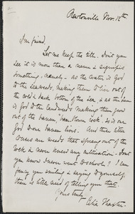Celia Thaxter typed letter signed to [James Thomas Fields],] Newtonville, [Mass.], 12 November [1879?]