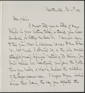 Celia Thaxter autograph letter signed to James Thomas Fields, Newtonville, [Mass.], 4 February 1880