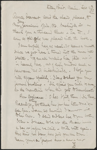 Celia Thaxter autograph letter signed to Annie Fields, Kittery Point, Maine, 12 September [18]80