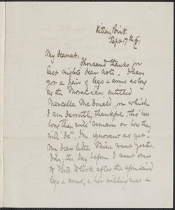 Celia Thaxter autograph letter signed to [Annie Fields], Kittery Point, [Me.], 17 September [18]81