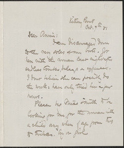 Celia Thaxter autograph letter signed to Annie Fields, Kittery Point, [Me.], 7 October [1881]