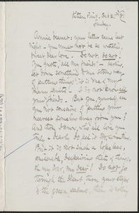 Celia Thaxter autograph letter signed to Annie Fields, Kittery Point, [Me.], 23 October [18]81