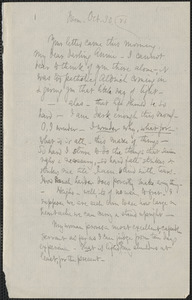 Celia Thaxter autograph letter signed to Annie Fields, Farm [Kittery Point, Me.], 30 October [18]81