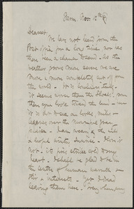 Celia Thaxter. autograph letter signed to Annie Fields, Farm [Kittery Point, Me.], 12 November [18]81