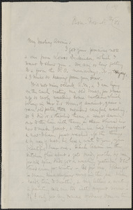 Celia Thaxter autograph letter signed to Annie Fields, Farm, [Kittery Point, Me.], 15 November [18]81