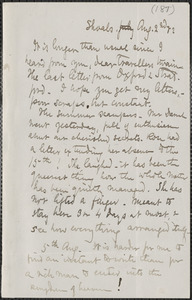 Celia Thaxter autograph letter signed to [Annie Fields and Sarah Jewett], Shoals, [N.H.], 2 & 5 August [18]82