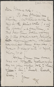 Celia Thaxter autograph note to [Annie Fields and Sarah Jewett, Boston, 26 December 1882]