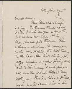 Celia Thaxter autograph letter signed to Annie Fields, Kittery Point, [Me.], 1 May [18]83