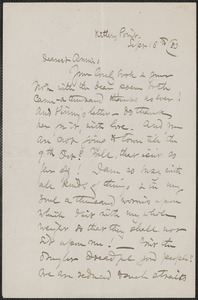 Celia Thaxter autograph letter signed to Annie Fields, Kittery Point, [Me.], 16 September [18]83