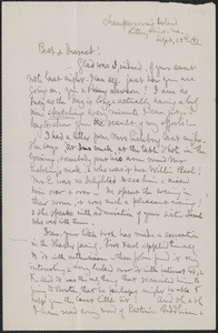 Celia Thaxter autograph letter signed to [Annie Fields], Champernown's Island, Kittery Point, Me., 23 September [18]83
