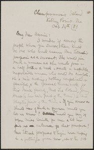 Celia Thaxter autograph letter signed to Annie Fields, Champernown's Island, Kittery Point, Me., 14 October [18]83