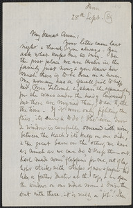 Celia Thaxter autograph letter signed to Annie Fields, Farm, [Kittery Point, Me.], 28 September [18]84