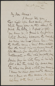 Celia Thaxter autograph letter signed to Annie Fields, Appledore, [N.H.], 10 June [18]85