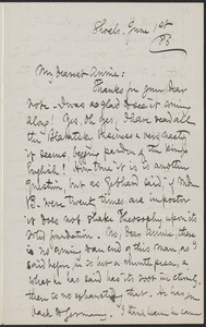 Celia Thaxter autograph letter signed to Annie Fields, Shoals, [N.H.], 1 June [18]86
