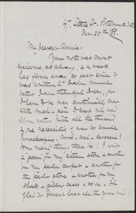 Celia Thaxter autograph letter signed to Annie Fields, Portsmouth, N.H., 30 November [18]88
