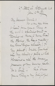 Celia Thaxter autograph letter signed to Annie Fields, Portsmouth, N.H., 13 January [18]89
