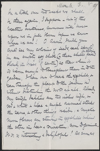 Celia Thaxter autograph letter signed to Annie Fields, [Portsmouth, N.H.], 3 March [18]89
