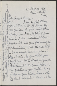 Celia Thaxter autograph letter signed to Annie Fields, Ports[mouth, N.H.], 11 March [18]89