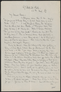 Celia Thaxter autograph letter signed to Annie Fields, Ports[mouth, N.H.], 25 March 1889