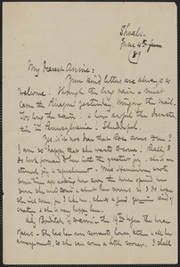 Celia Thaxter autograph letter signed to Annie Fields, Shoals, [N.H.], 4 June [18]89