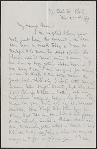 Celia Thaxter autograph letter signed to Annie Fields, Ports[mouth, N.H.], 25 November [18]89
