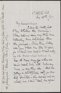 Celia Thaxter autograph letter signed to Annie Fields, Ports[mouth, N.H.], 25 December [18]90