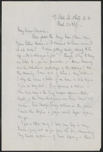 Celia Thaxter autograph letter signed to Annie Fields, Ports[mouth], N.H., 22 March [18]91