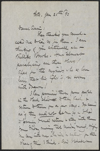 Celia Thaxter autograph letter signed to Annie Fields, Ports[mouth, N.H.], 25 January [18]93