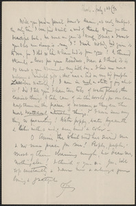 Celia Thaxter autograph letter signed to Annie Fields, Shoals, [N.H.], 1 July [18]93