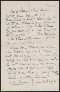 Celia Thaxter autograph letter signed to Annie Fields, [Shoals, N.H.], 7 August [1893]