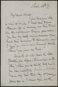 Celia Thaxter autograph letter signed to Annie Fields, Shoals, [N.H.], 26 [May or June? 18]93