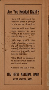 """Street Directory of the City of Newton also Location of Fire Alarm Signal Stations Including Map of Newton, 1918 - """"Are You Headed Right?"""" -"""