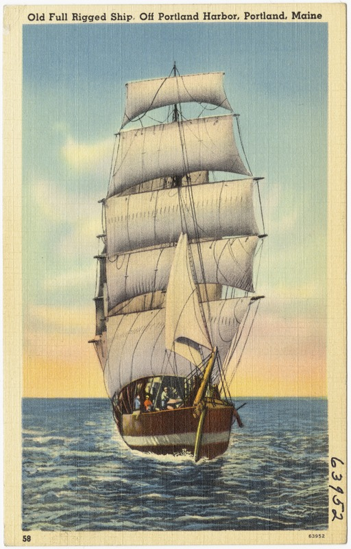 Old Full Rigged Ship, Off Portland Harbor, Portland, Maine