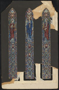 Three windows, Christ in center window.  Left and right window each depict a woman, both looking toward the center window.
