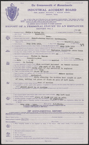 1918 Industrial Accident Board injury report, Victor E. Hanson
