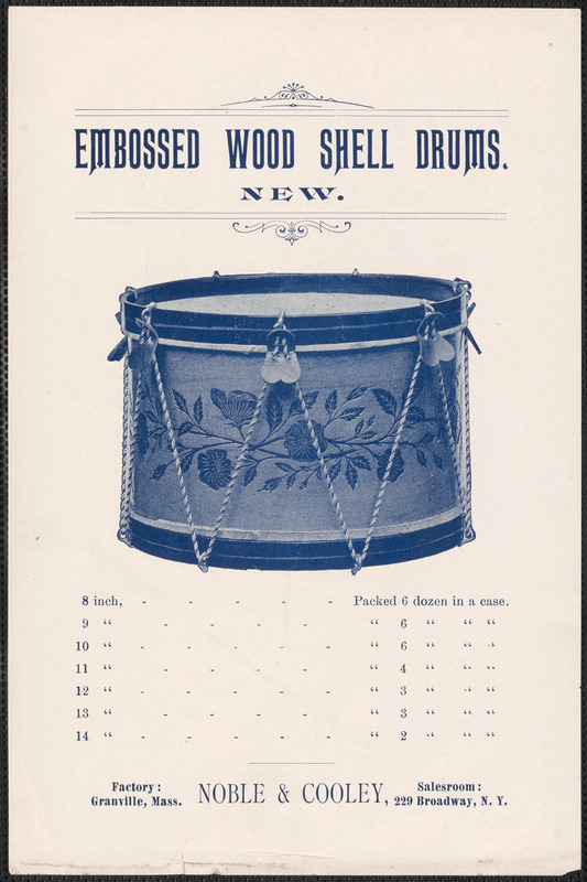 1901 Noble & Cooley embossed wood shell drums