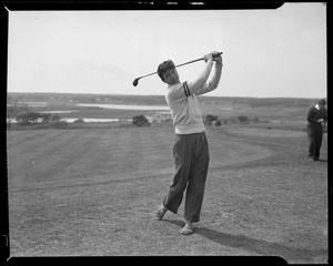 Barnstable golf team at Falmouth, Harry Richardson, Hartley Cassidy, George Kahler, Shirley Perry, Frederick Allen, Peter Perry, Harold Davis, Wray Lockwood