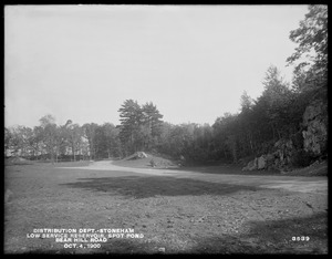 Distribution Department, Low Service Spot Pond Reservoir, Bear Hill Road, looking easterly, Stoneham, Mass., Oct. 4, 1900